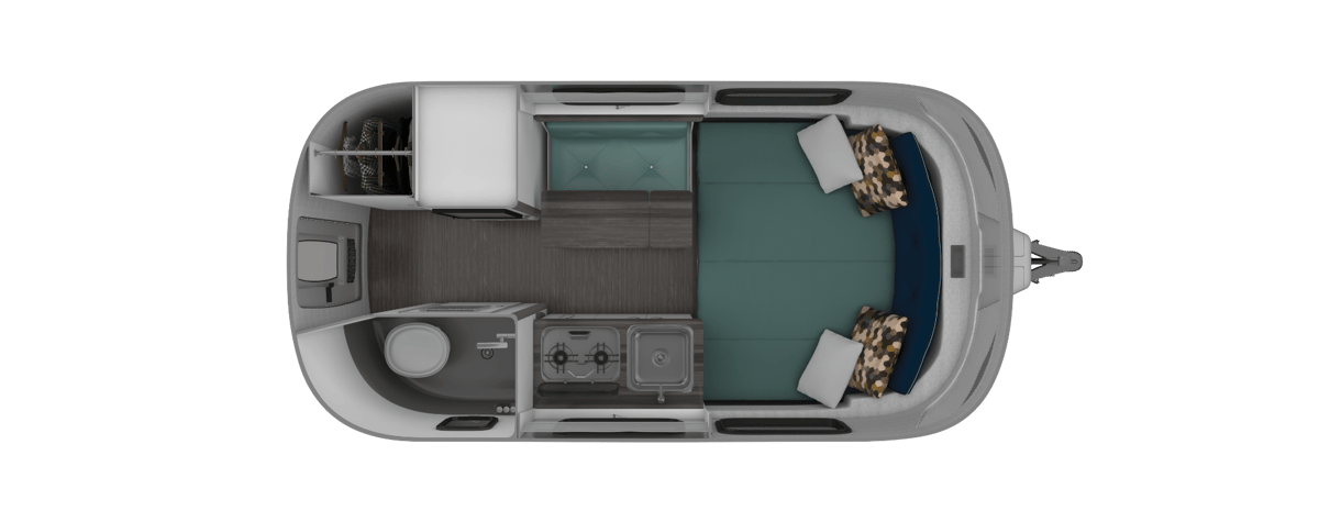 The 16FBfloor plan includes a fixed bed andsmall bench/dining table