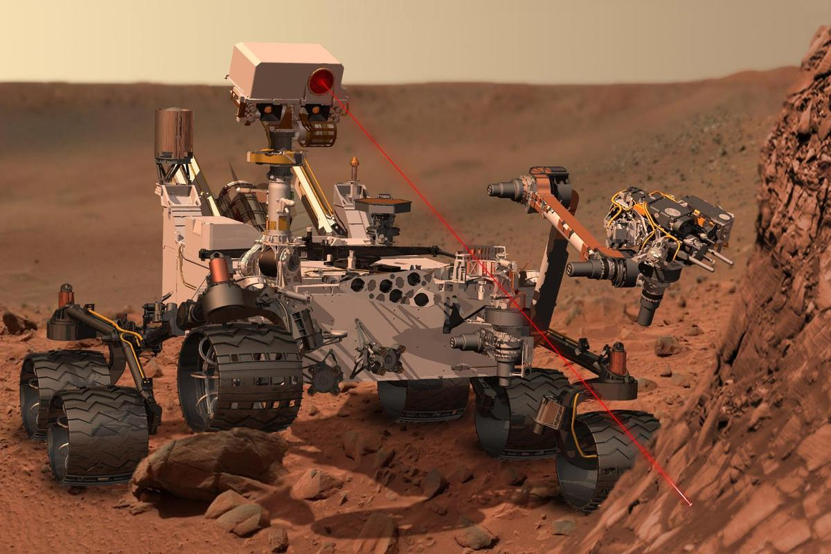 Artist's concept of Curiosity using laser (Image: NASA)