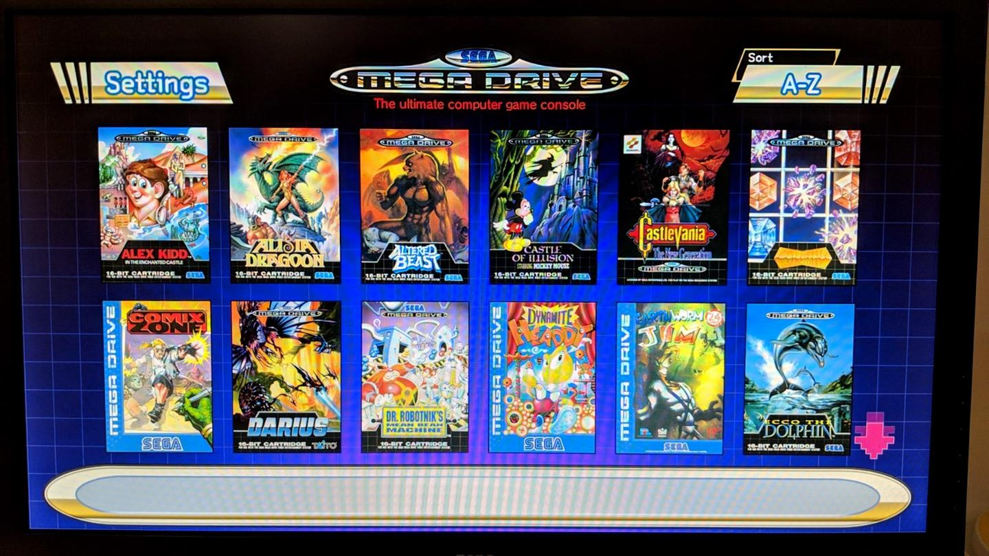 Games on the Sega Genesis Mini can be arranged and browsed by alphabetical order, genre, release date or number of players