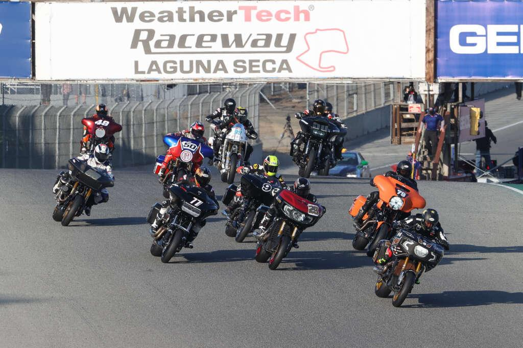 A grid full of giant V-Twin cruisers with some serious cats behind the bars faced off at Laguna Seca on Saturday for the first King of the Baggers race