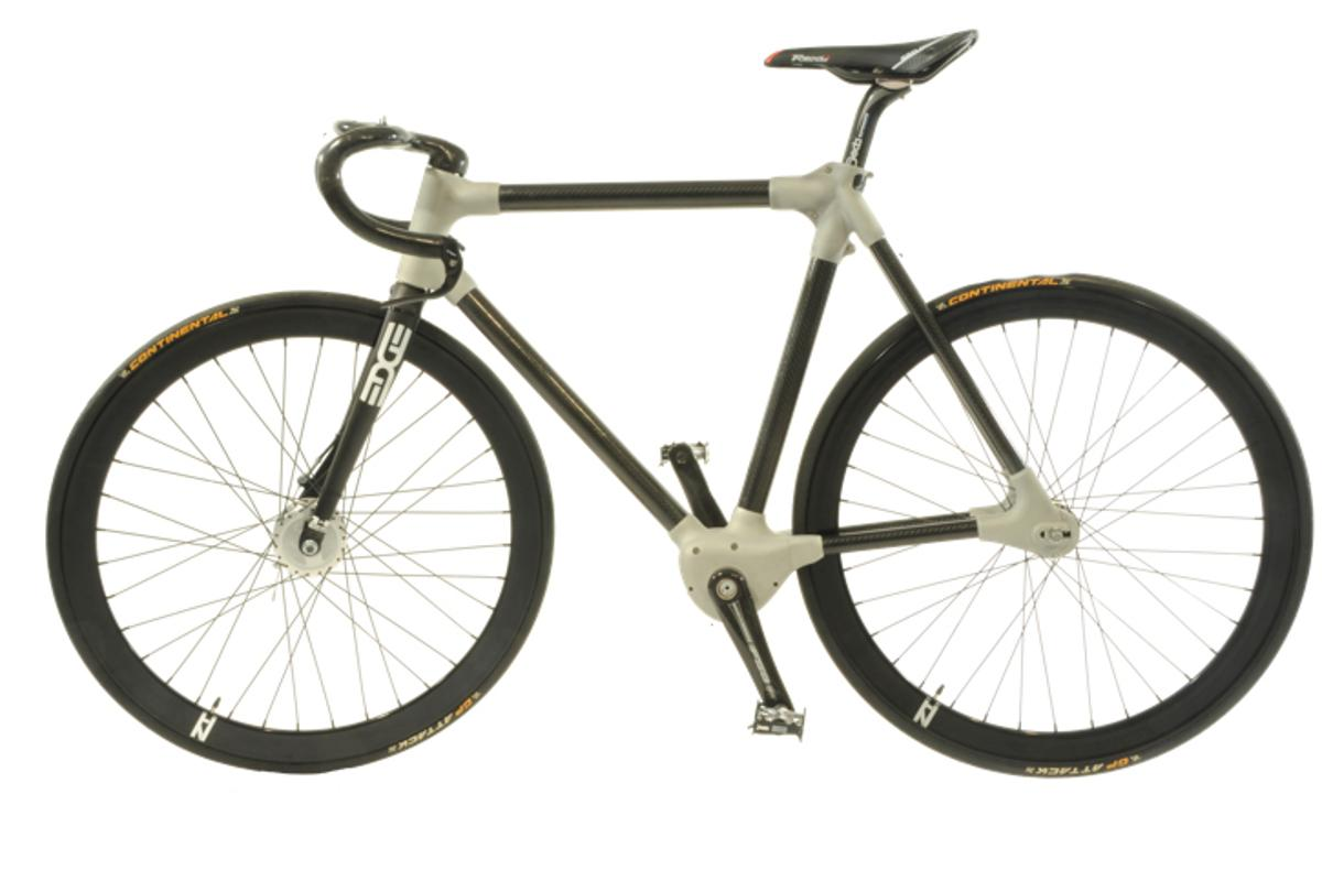 The Alpha bike prototype features a fully internal chainless drivetrain with electronic switching