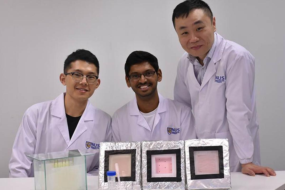 The research team (led by Tan Swee Ching, at right) with samples of the hydrogel