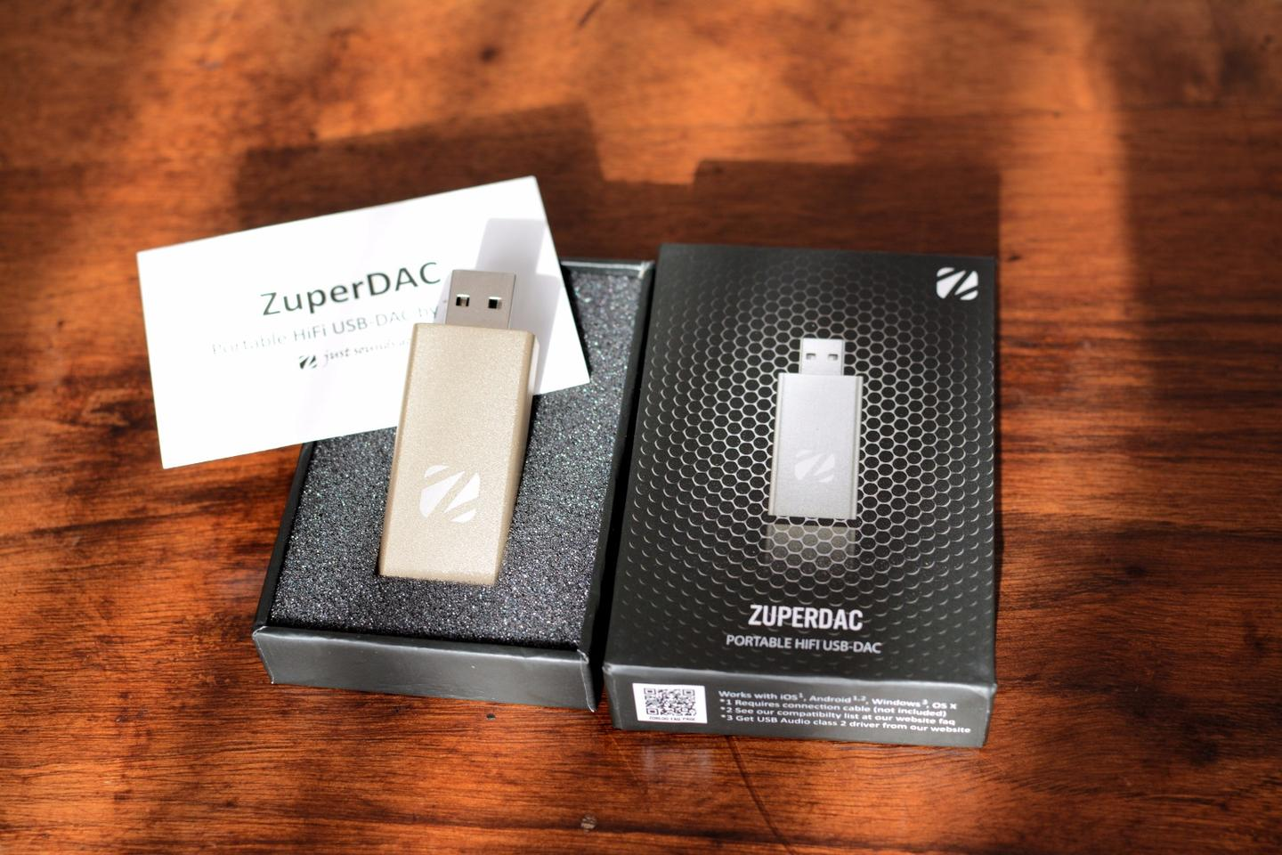 The 46 x 23 x 10 mm (1.8 x 0.9 x 0.39 in), 16 g (0.56 oz) ZuperDAC digital-to-analog converter and headphone amp
