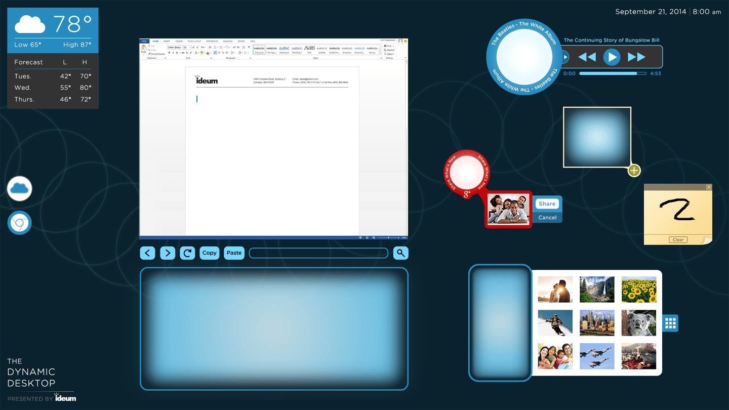 Ideum's Dynamic Desktop interacts with a variety of physical objects, presenting context-sensitive touch-based interfaces (Image: Ideum)