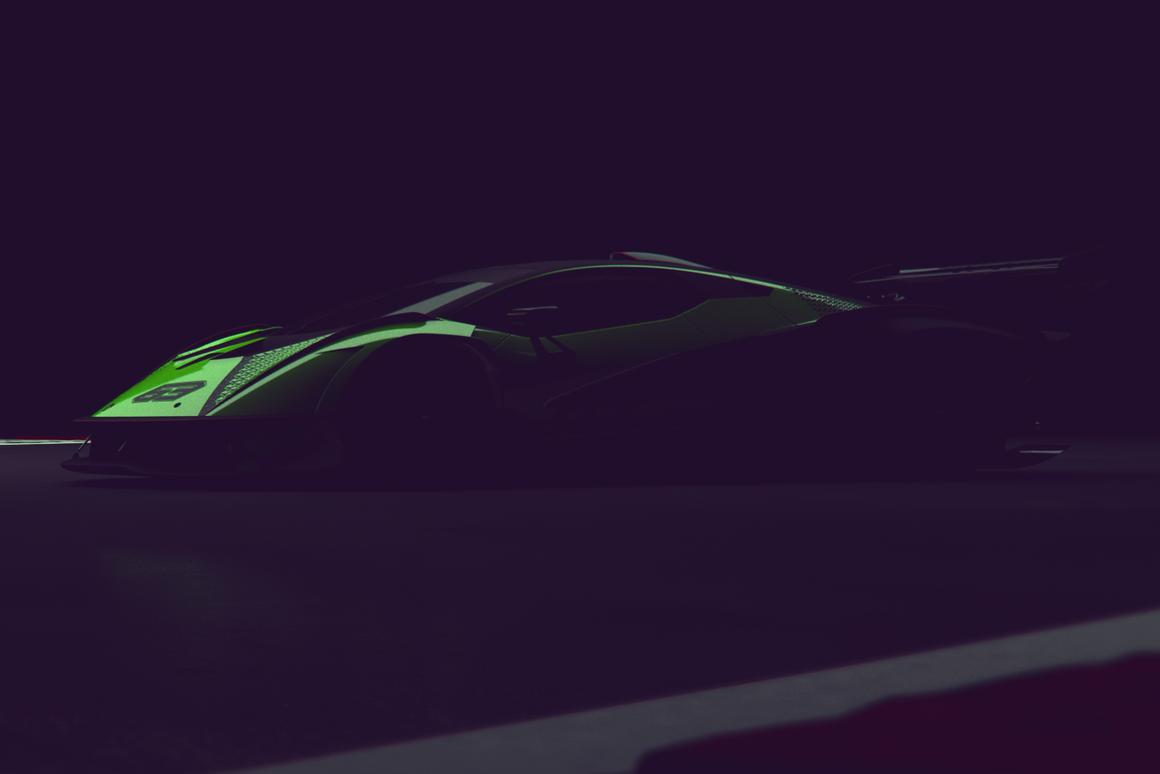 A heavily disguised peek at an upcoming track-only hyper car from Lamborghini's Squadra Corse division