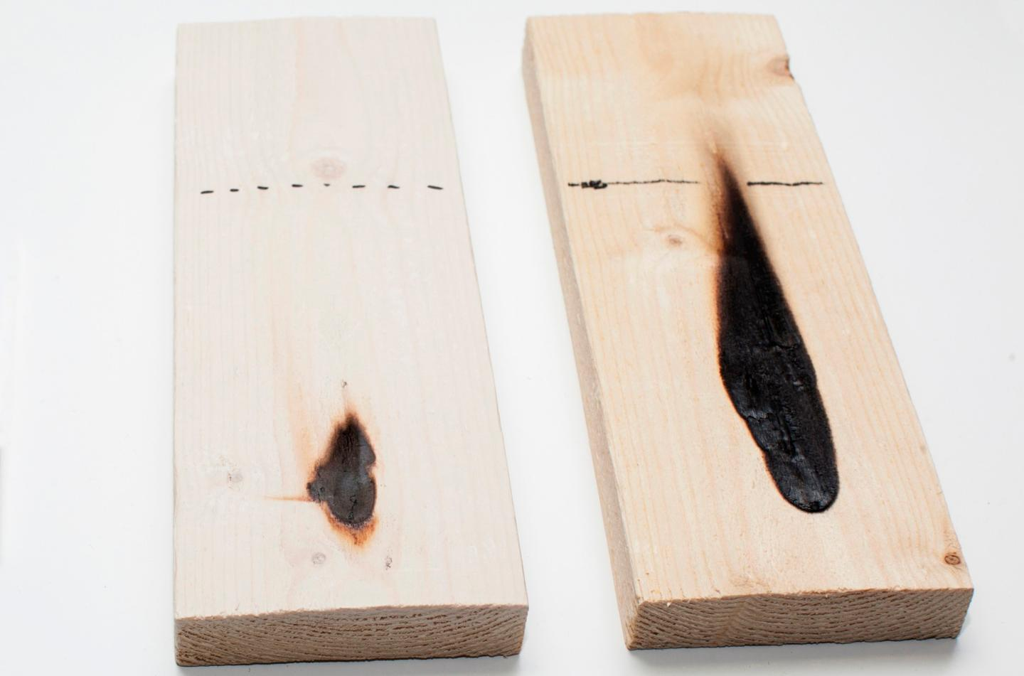 HefCel-coated wood (left) and untreated wood, after a 30-second flame test