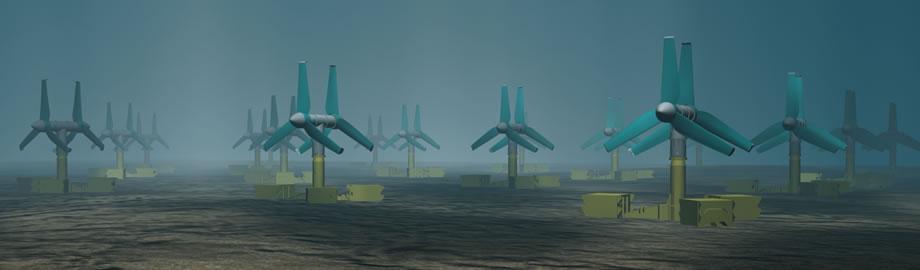 Illustration of tidal power turbines in use