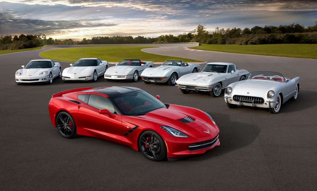Seven generations of Corvette gathered together © General Motors