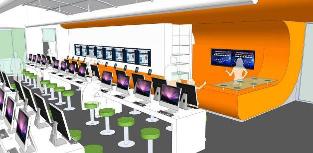 The interior of the BiblioTech will be influenced by Apple Retail Stores