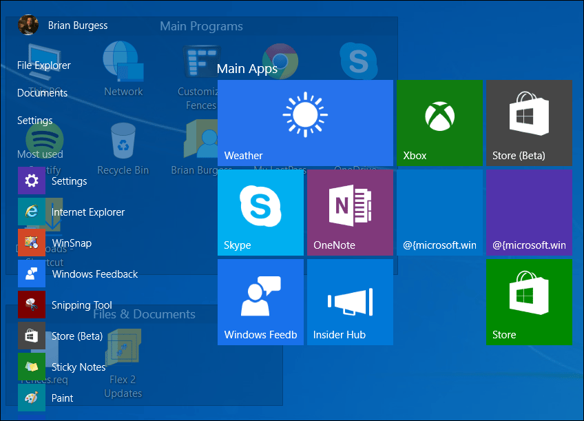 The Start menu is transparent