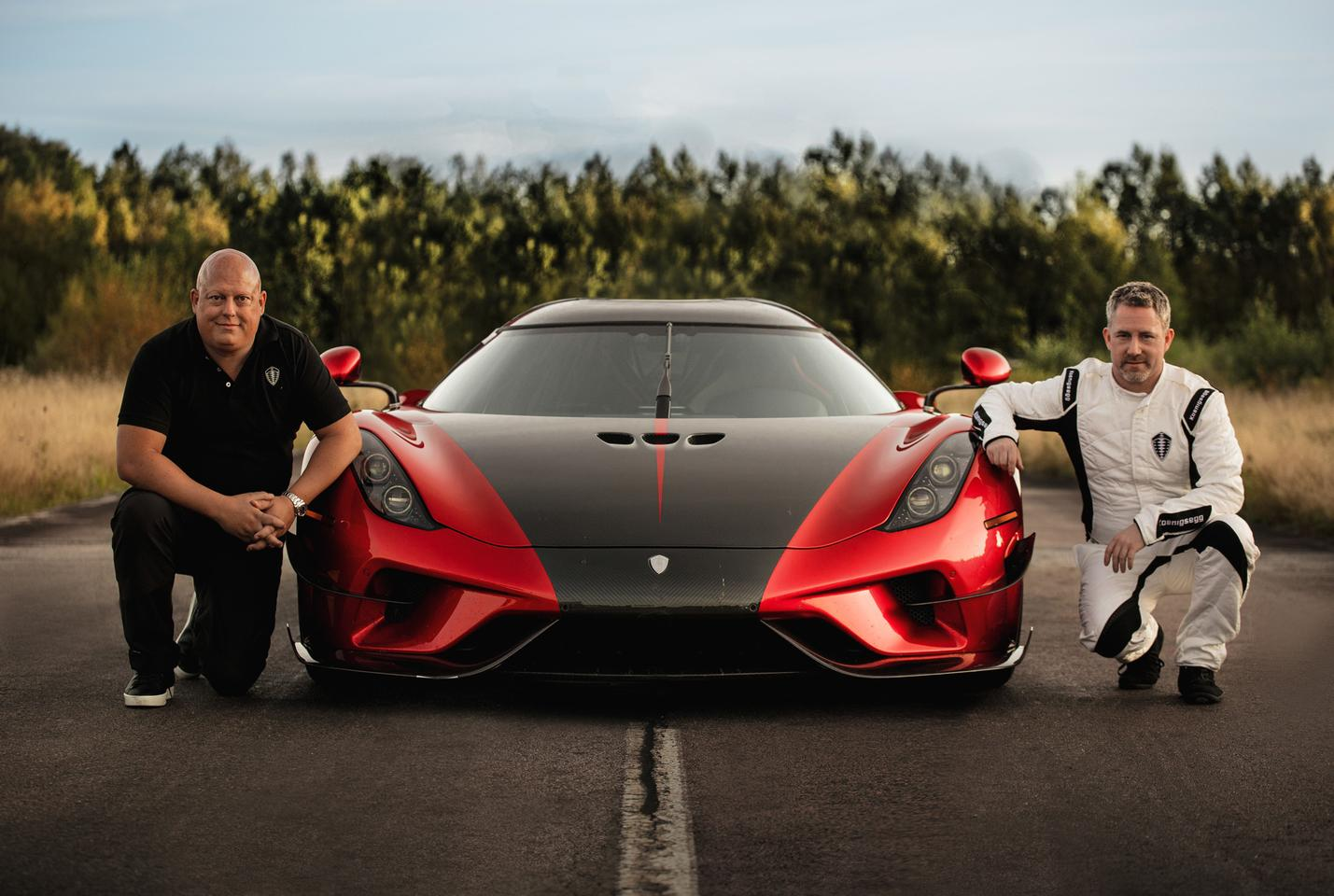 Christian Koenigsegg, left, with the Regera, center, and driver Sony Persson, right