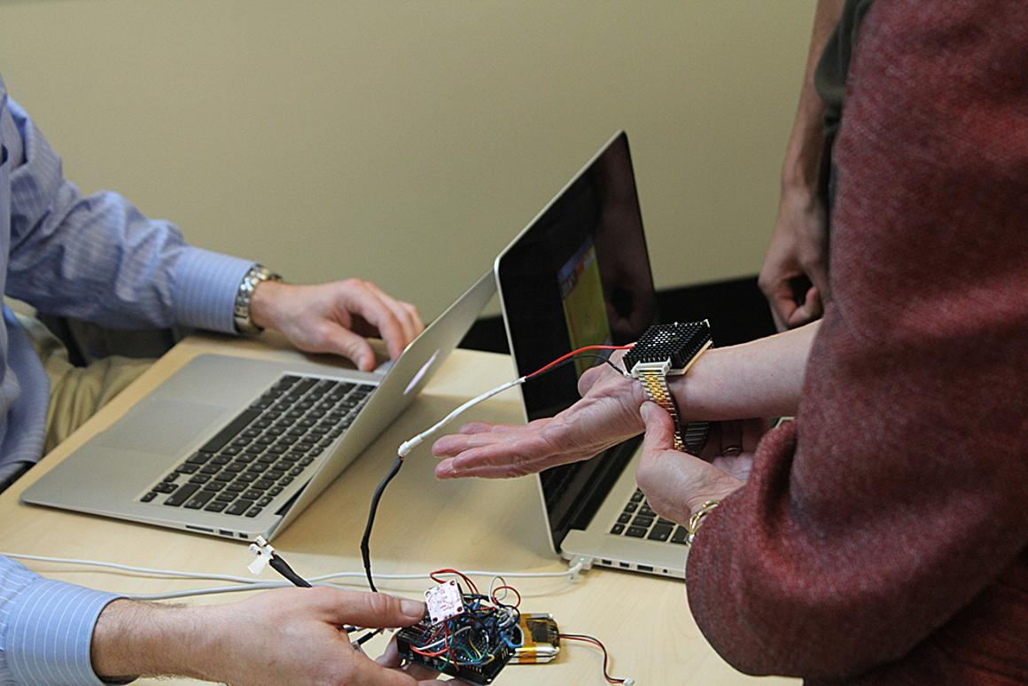 The Wristify thermoelectric bracelet being put to the test at MIT's MADMEC (Photo: Franklin Hobbs)