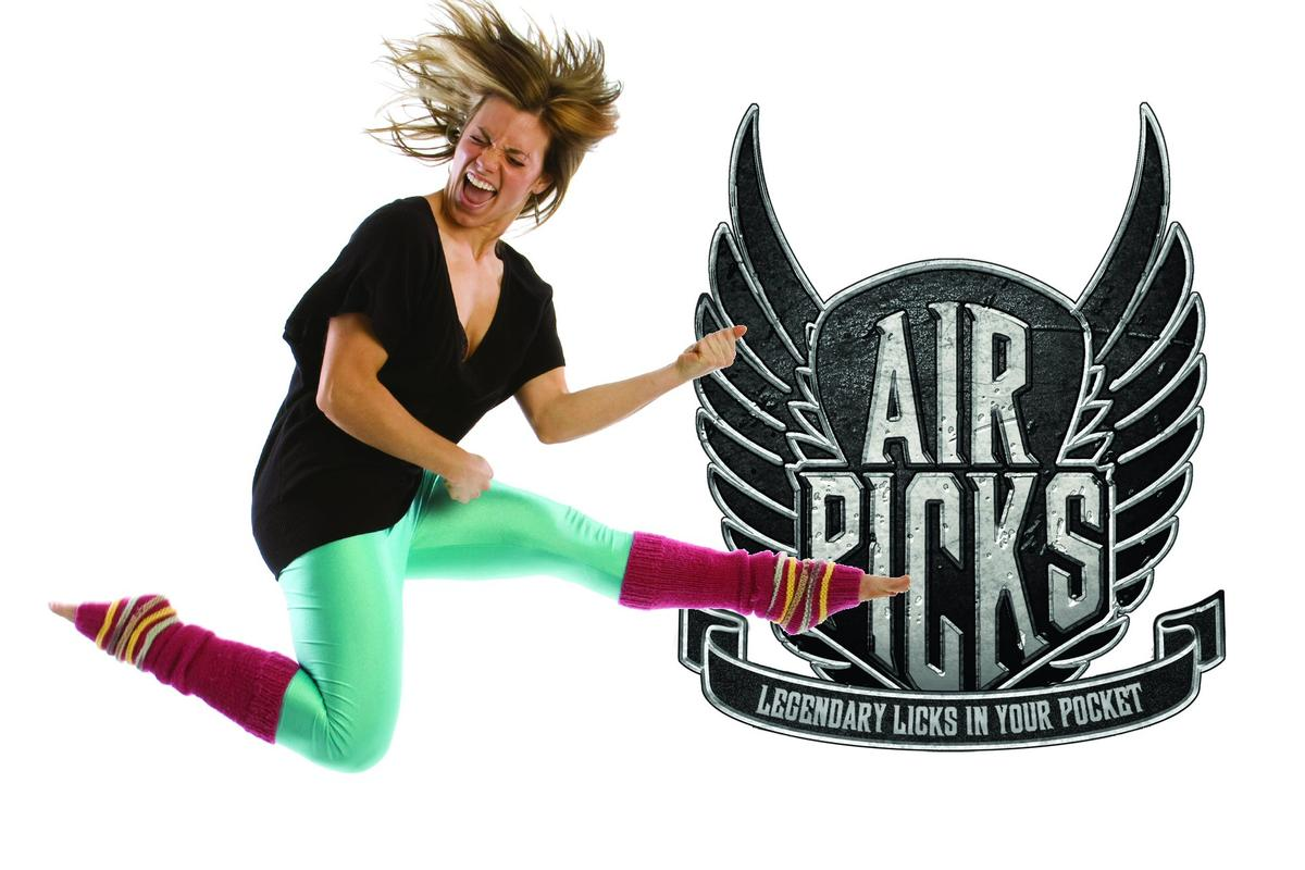 Air Picks are small pick-shaped devices that play classic guitar riffs with a rhythmic flick of the wrist