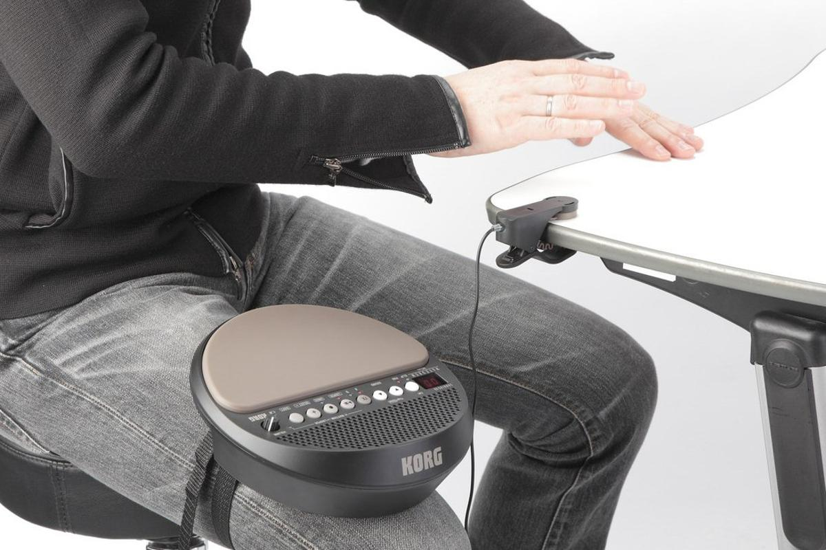 Korg has announced a compact, portable version of it popular Wavedrum percussion synth, which has its own speaker and includes a clip sensor that can turn finger tapping on a table top into digital percussion sounds
