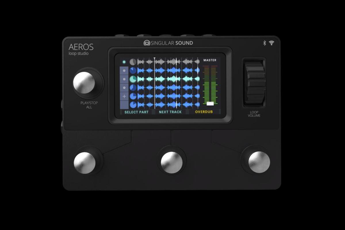 The Aeros Loop Station is a six track looper with simultaneous parallel and sequential looping, and a scrollwheel for mixing by foot during a performance