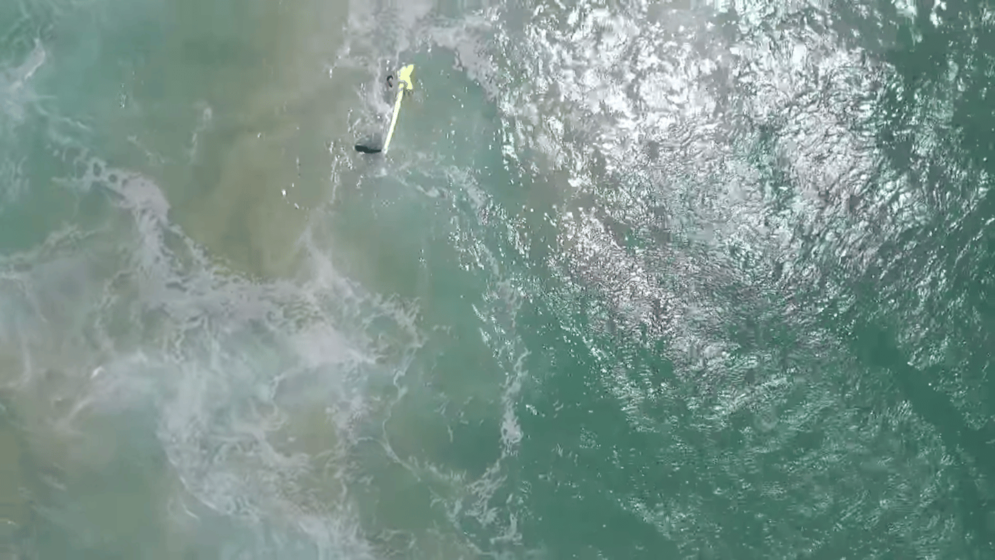 View from the Little Ripper lifesaving drone during its first rescue mission