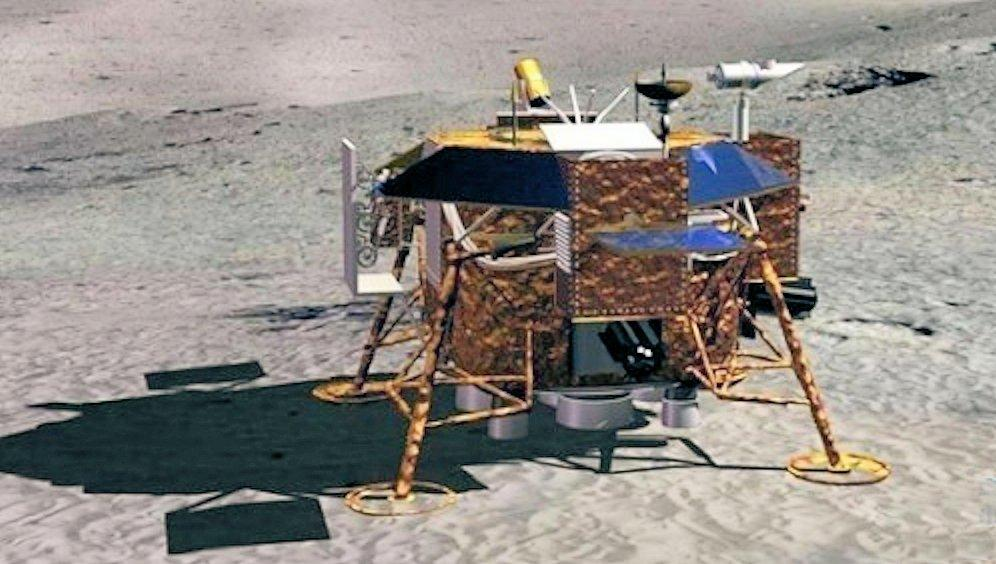 Artist's model of the Chang'e-3 lunar lander on the Moon's surface (Image: Xingua)