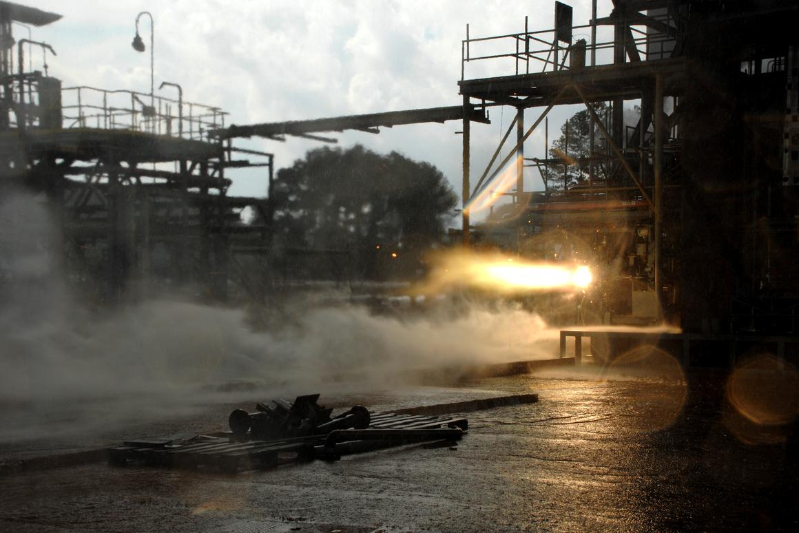 Hot-fire test of a 3D printed rocket part (Image: NASA/MSFC/NASA/David Olive)