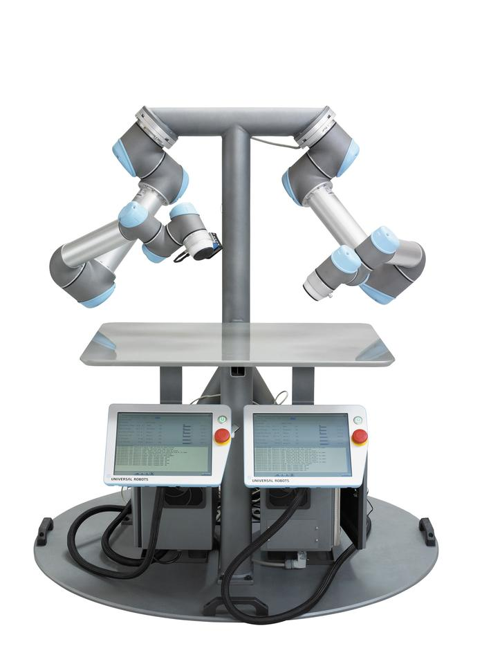 Universal Robots' dual-armed set-up can lift objects weighing up to 44 pounds / 20 kg