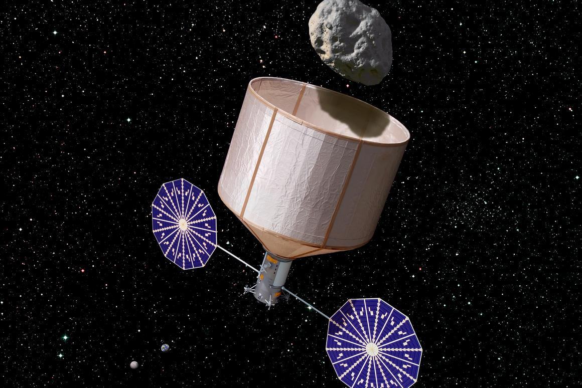 Artist's concept of the Keck asteroid capture mission (Image: Rick Sternbach / Keck Institute for Space Studies)
