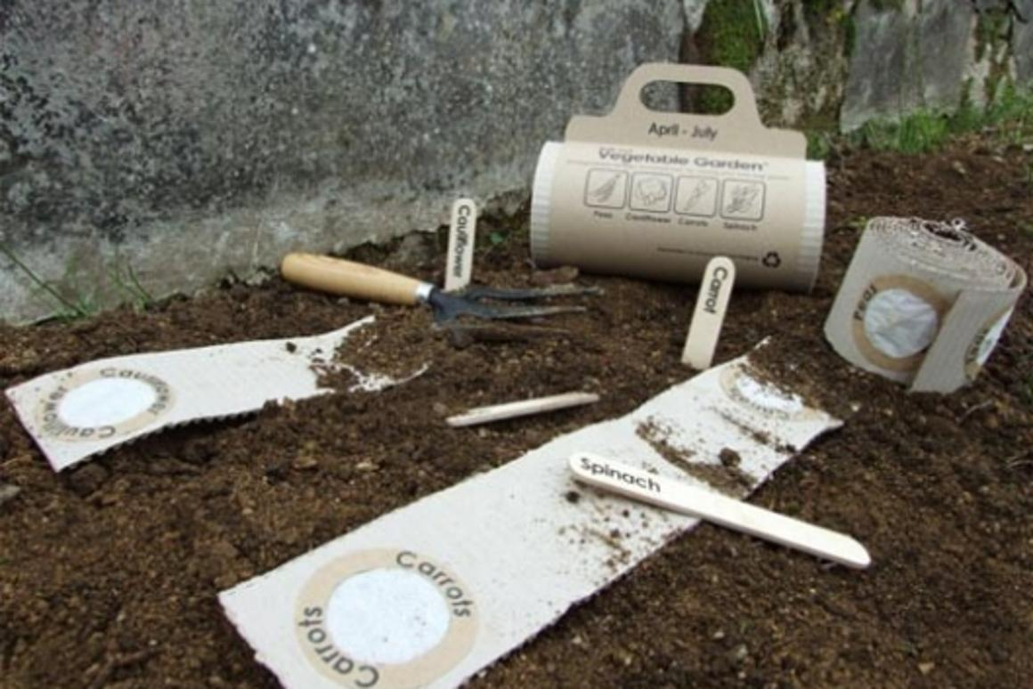The Roll-out Veg Mat and Herb Gardens are corrugated cardboard seed mats, pre-sown with four types of seeds and fertilizer