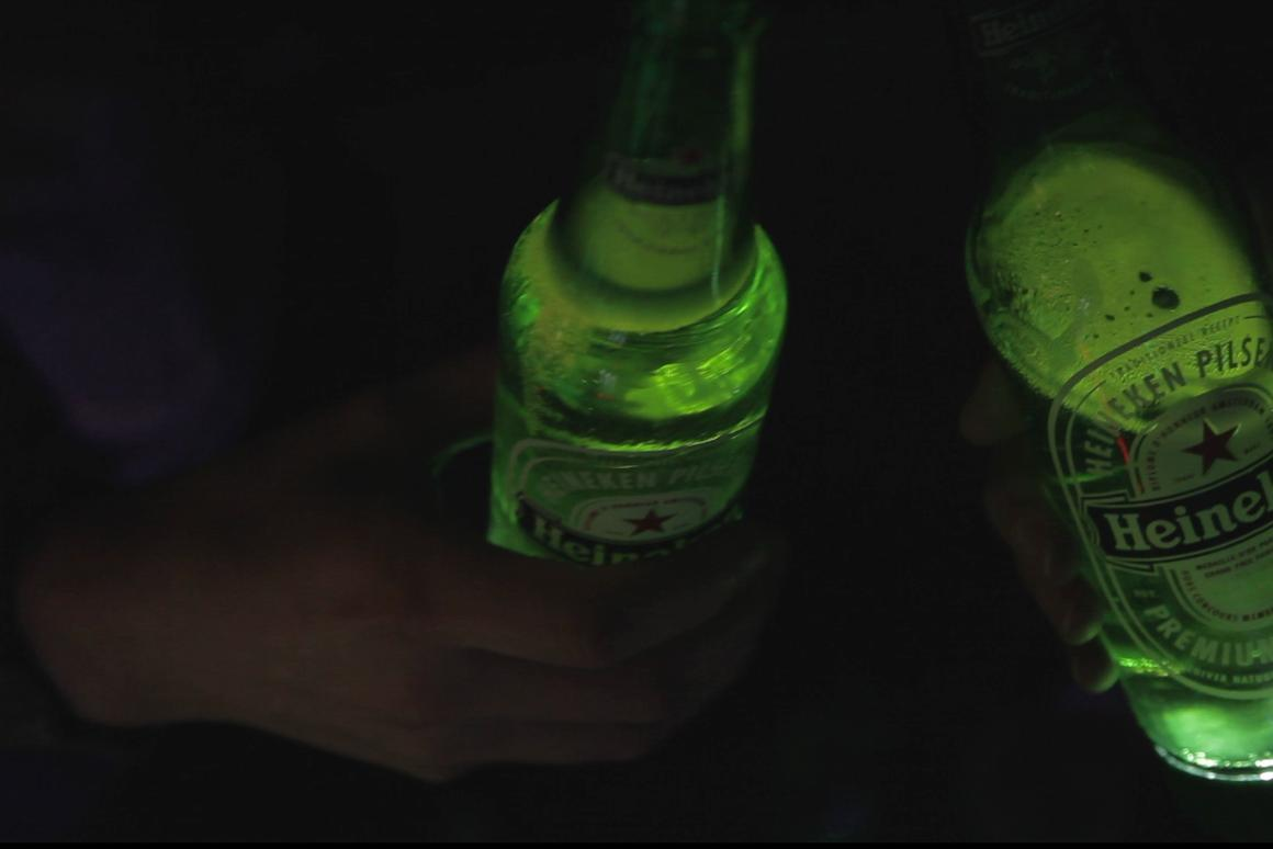 Clinking two of the bottles together for a toast causes the LEDs to light up simultaneously