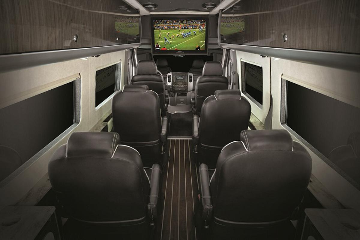 The Autobahn interior gives passengers a spacious, comfortable ride full of amenities