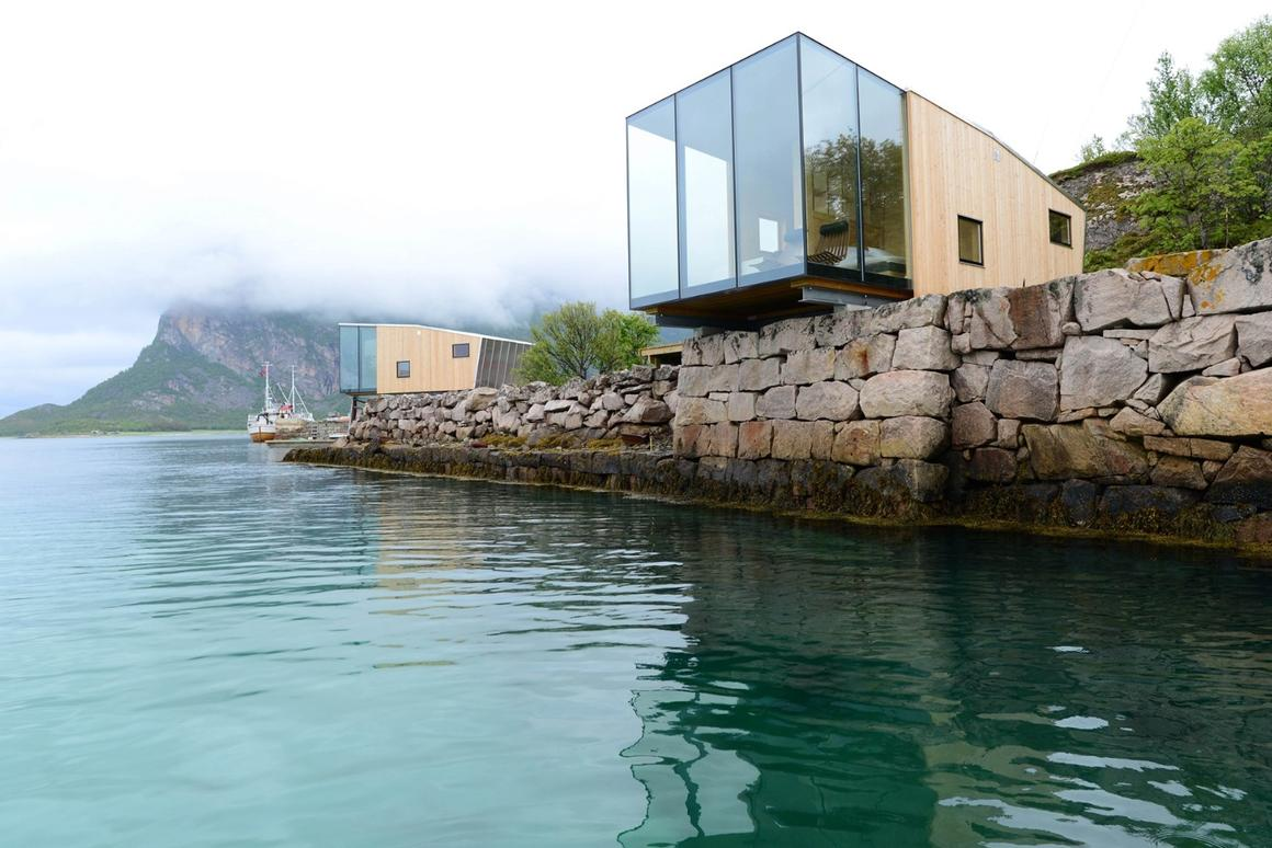 The Manshausen cabins are designed to hang over the water's edge
