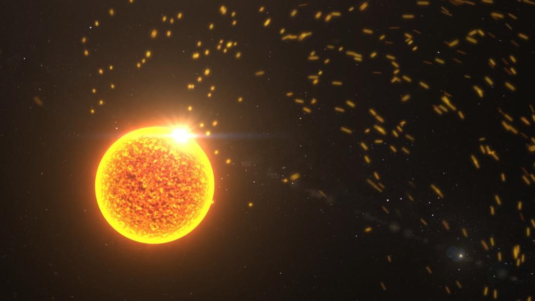 An artist's impression of charged particles flowing outward from the Sun into the solar system
