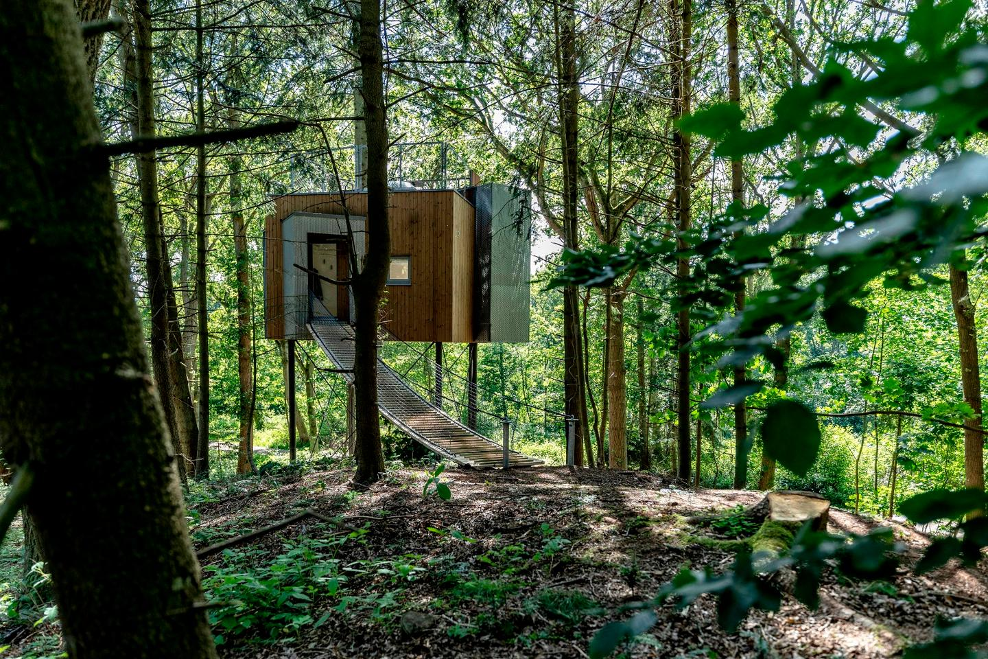 Berlin-based architect Sigurd Larsen has finished the first of a charming cluster of cabins set amongst a forest canopy in his homeland of Denmark
