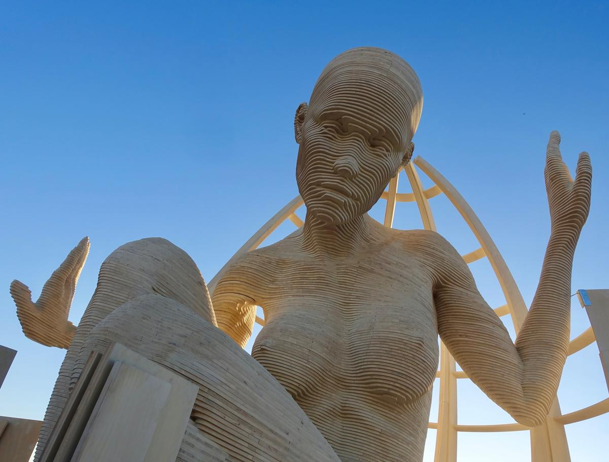 Mariposita, a 21-foot-tall sculpture on display at Burning Man 2019
