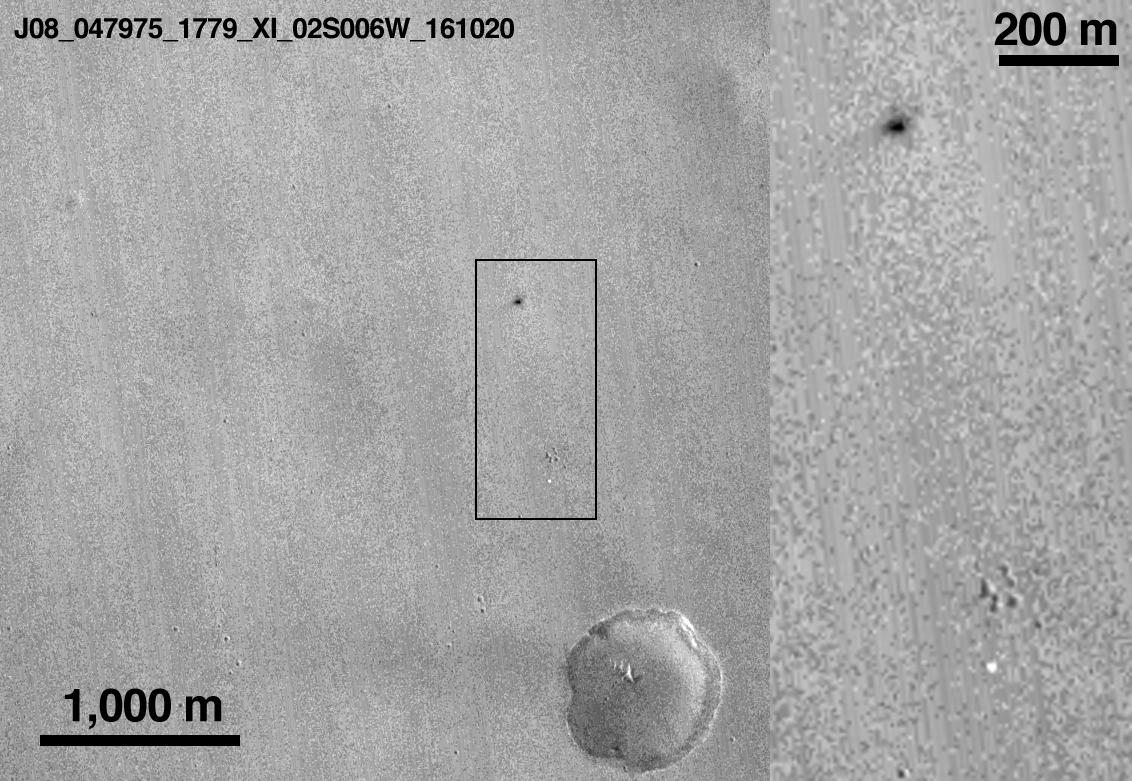 Schiaparelli landingzone showing effect of the probable spacecraft impact and explosion