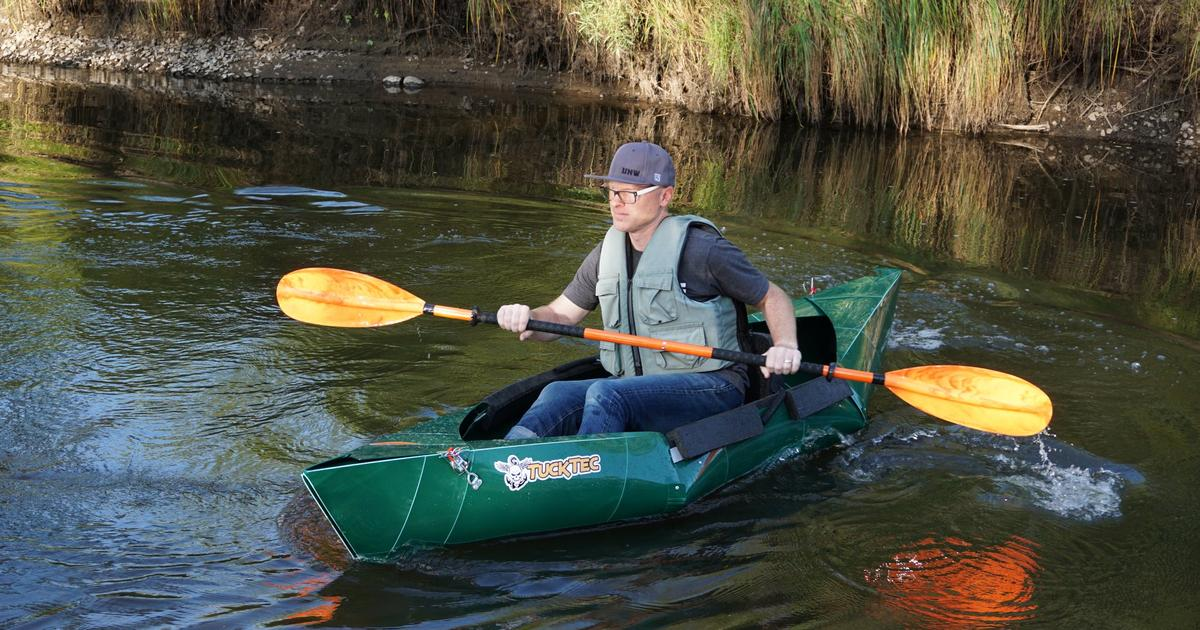 Folded-plastic kayak is made to be cheap and transportable