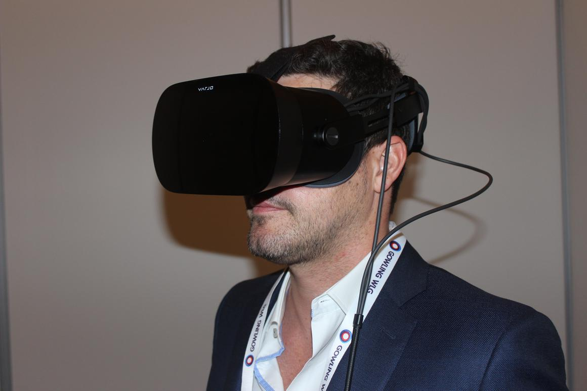 Varjo's head of sales for the Americas, Brandon Turnage, demonstrates the VR-2 at the VR/AR Global Summit