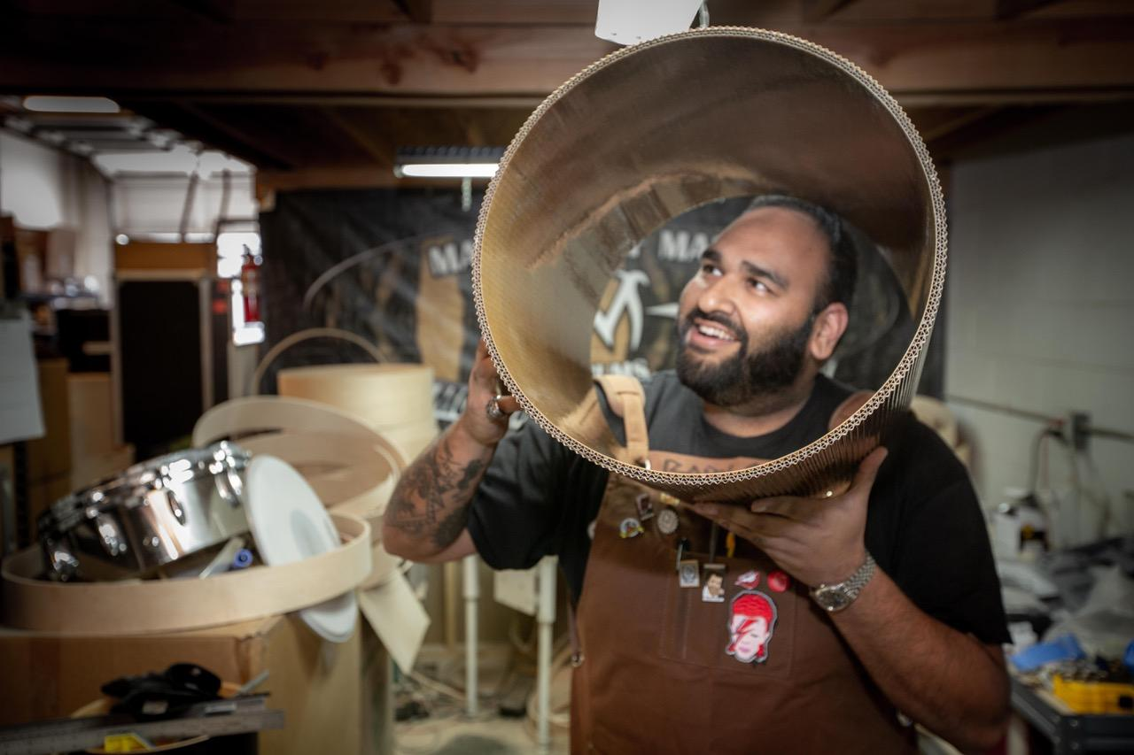 A Cardboard Chaos collaboration between Signal Snowboards and Ernest Packaging Solutions, the cardboard drum kit also involved Sahir Hanif of kit builders Masters of Maple