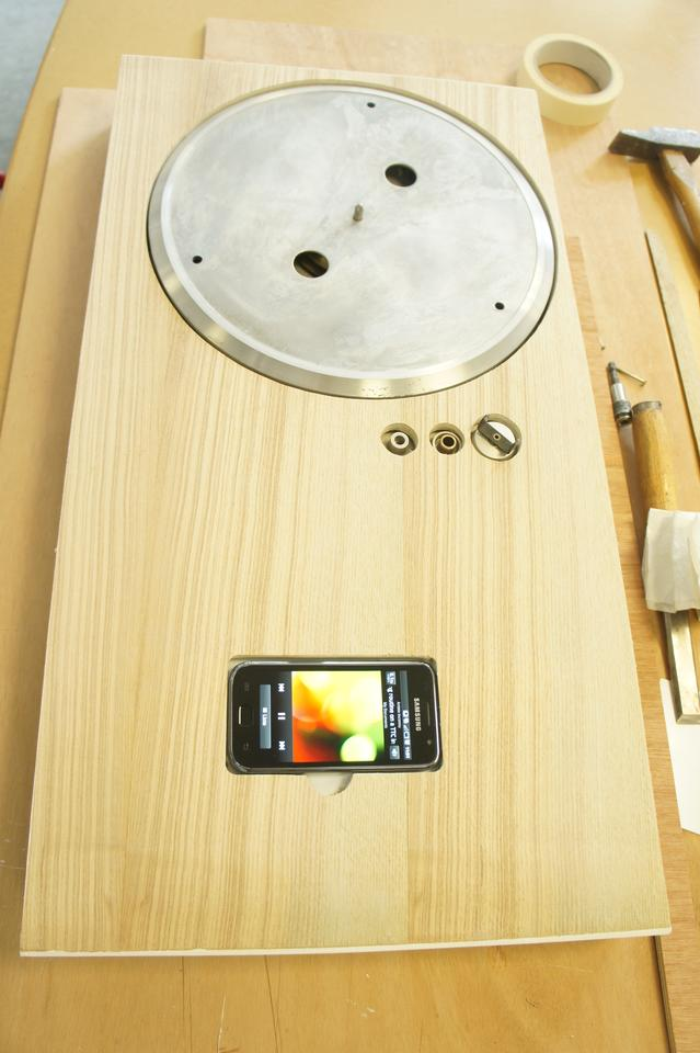 The Turntable iPhone Dock prototype being built