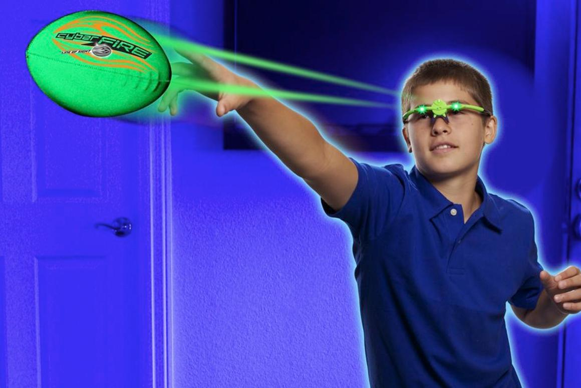 "The CyberFire Football Set incorporates a reflective foam ball and LED-equipped ""glasses,"" which cause the ball to appear to glow green or red"