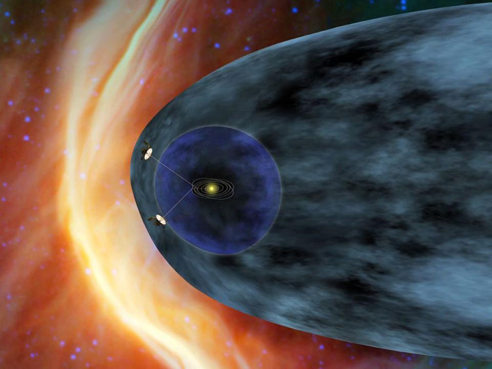 Artist's concept of the two Voyager probes in the outer solar system