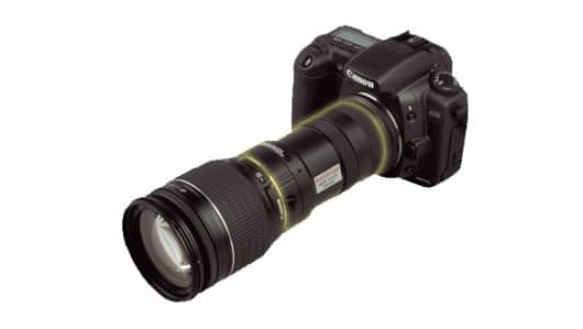 The AstroScope DSLR night vision adapter (shown on Canon EOS)
