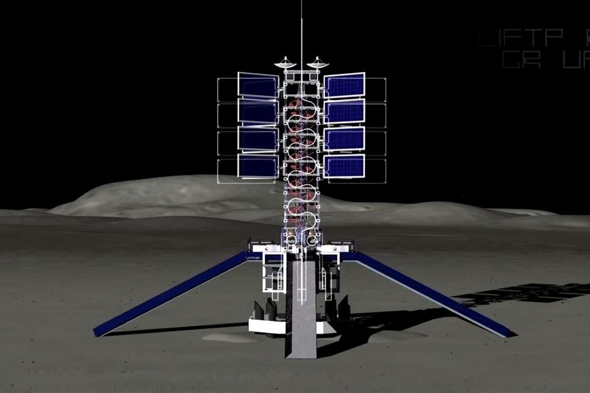 The lunar lifter and ramps for small rovers deployed at the docking port of the proposed lunar elevator