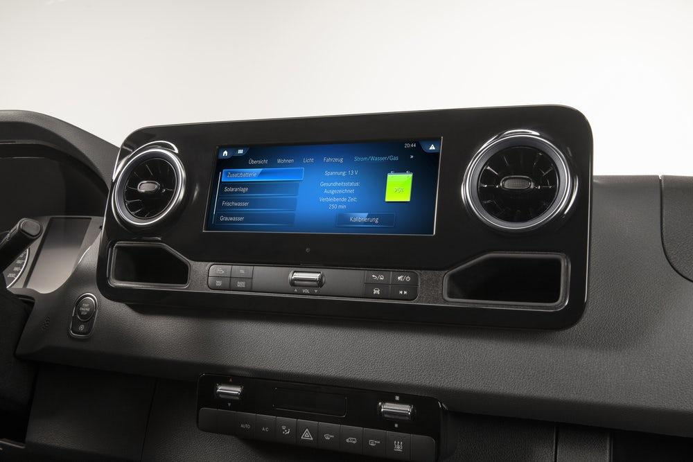 The MBAC system utilizes both the MBUX infotainment display and a separate control touchscreen in monitoring and controlling camper systems and components