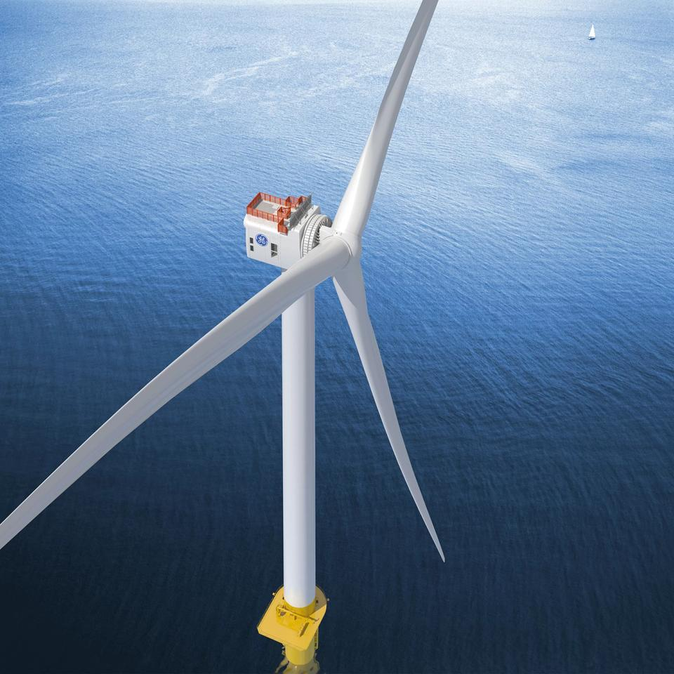 A prototype of GE's Haliade-X turbine, which will be used in the US' first large-scale offshore wind farm