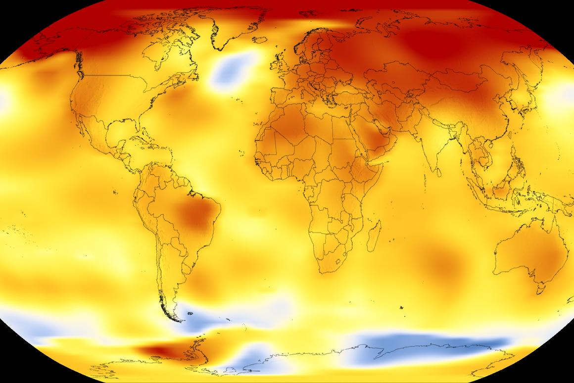 The Earth's average global temperature from 2013-2017, compared to a baseline average from 1951-1980 (yellow, orange and red indicates temperatures higher than the baseline)