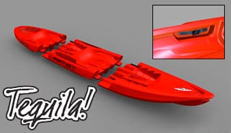 The Tequila! sit-on kayak from Point65 comes apart for easy storage and transportability and can transform from solo to tandem in a snap, too