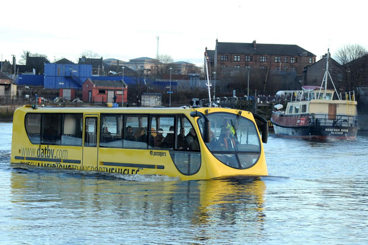 The amfibus in action on the River Clyde