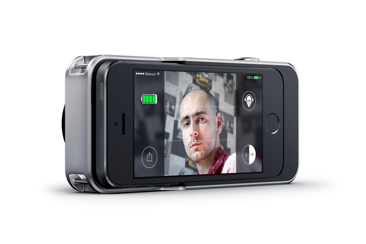 The Relonch Camera works with the user's docked iPhone 5