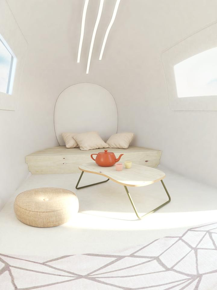 The Space by Ecocapsule's interior contains just one large space as standard, though it can be customized with additional furniture and a bathroom at extra cost