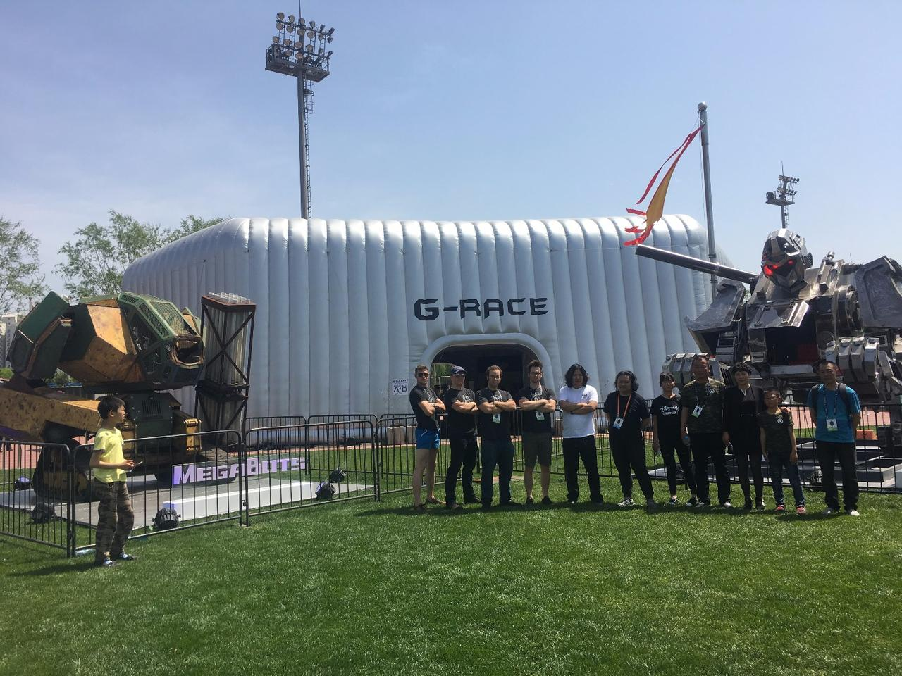 The MegaBots MkII with the Monkey King in Beijing, with both teams