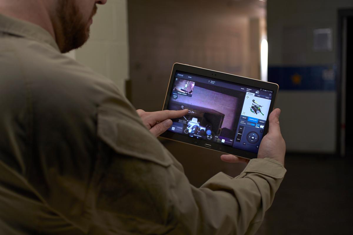 The iRobot uPoint MRC System uses an Android-based app