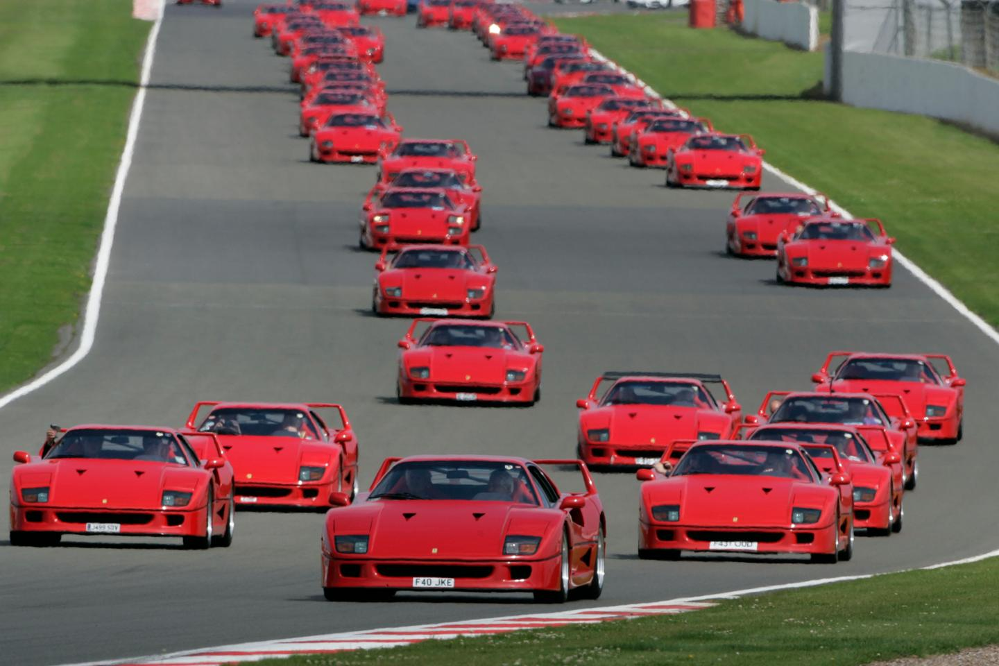 The collection of 60 F40s make their way around the Silverstone circuit on the weekend